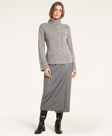 Stretch Wool Flannel Wrap Skirt