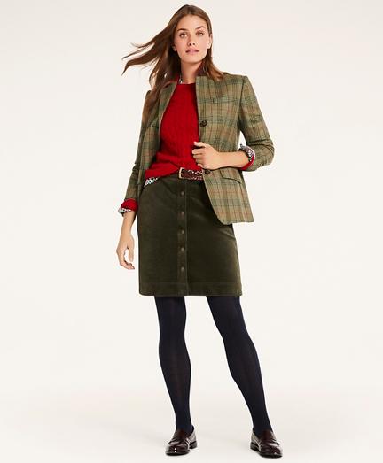 Stretch Cotton Button Corduroy Skirt
