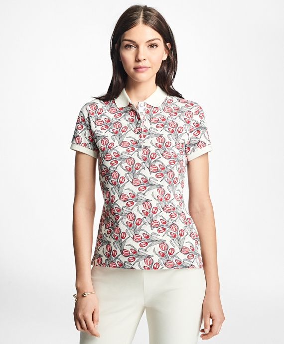 Slim-Fit Tulip-Print Stretch-Cotton Pique Polo White-Red