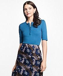 Fitted Interlocked Cotton Henley Shirt