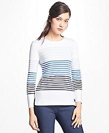 Ombre Striped Cotton Interlock Jersey Top