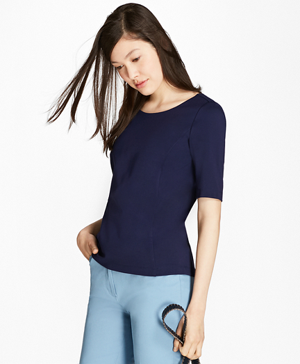 Elbow-Sleeve Ponte T-Shirt