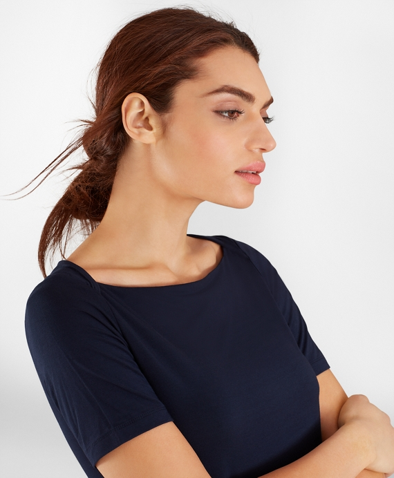 Bateau-Neck Jersey Top Navy