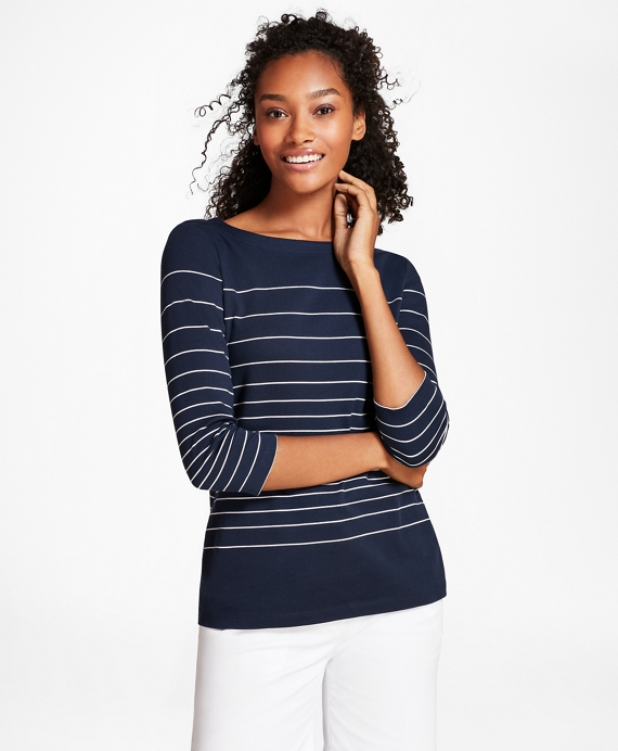 Striped Supima® Cotton Interlock Jersey Top Navy-White