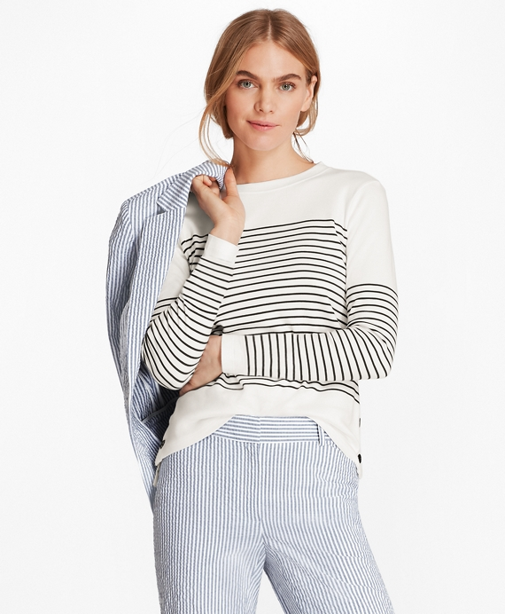 Striped Supima® Cotton Interlock Jersey Tunic White-Black