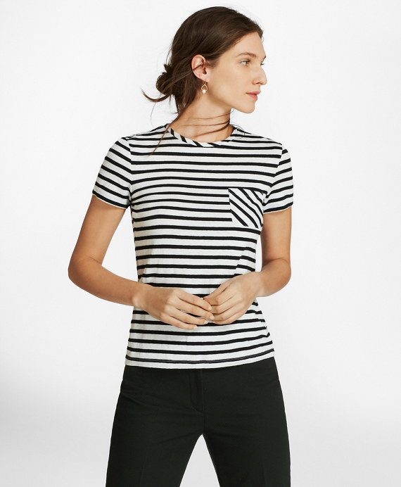 Striped Linen-Blend Jersey T-Shirt White-Black