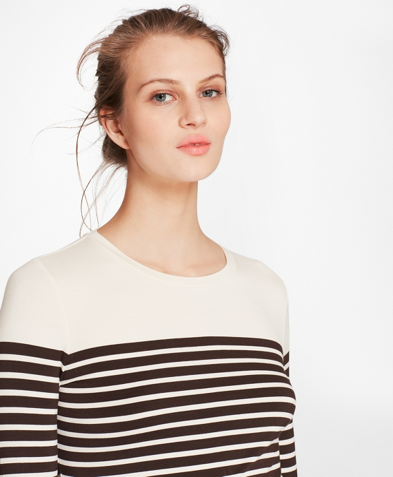Striped Jersey Long-Sleeve T-Shirt Ivory-Brown