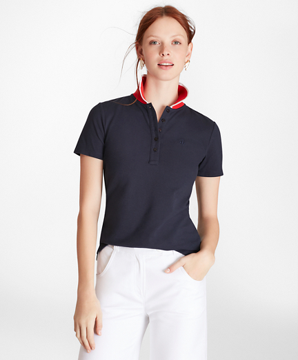 Slim-Fit Cotton Pique Contrast-Collar Polo Shirt