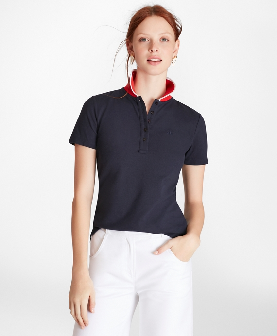 Slim-Fit Cotton Pique Contrast-Collar Polo Shirt Navy