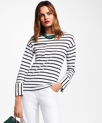 Striped Cotton Interlock Jersey Top