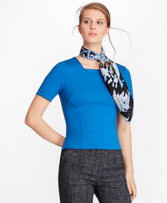 Ponte-Knit Squareneck Top Bright Blue