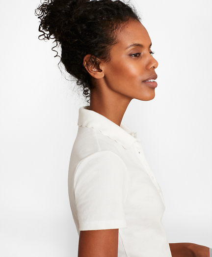 Scalloped-Collar Slim-Fit Stretch Cotton Pique Polo