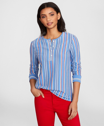 Striped Supima® Cotton Jersey Henley Tunic