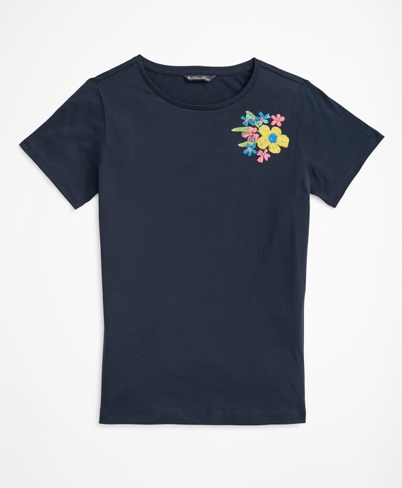 Floral-Embroidered T-Shirt Navy
