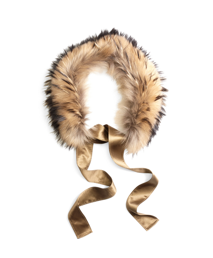 Raccoon Fur Collar with Silk Crepe Ribbon Tie