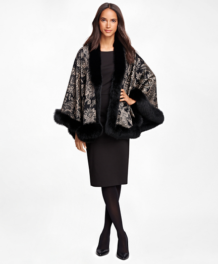 Cashmere Paisley Ruana with Fox Fur Trim
