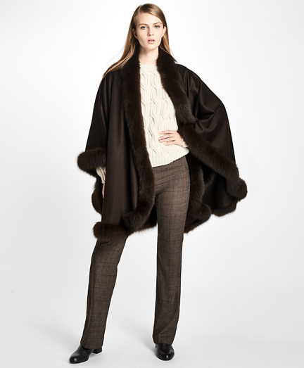 Fox-Fur-Trimmed Cashmere Ruana