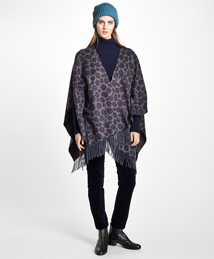 Double-Faced Animal-Print Cashmere Ruana