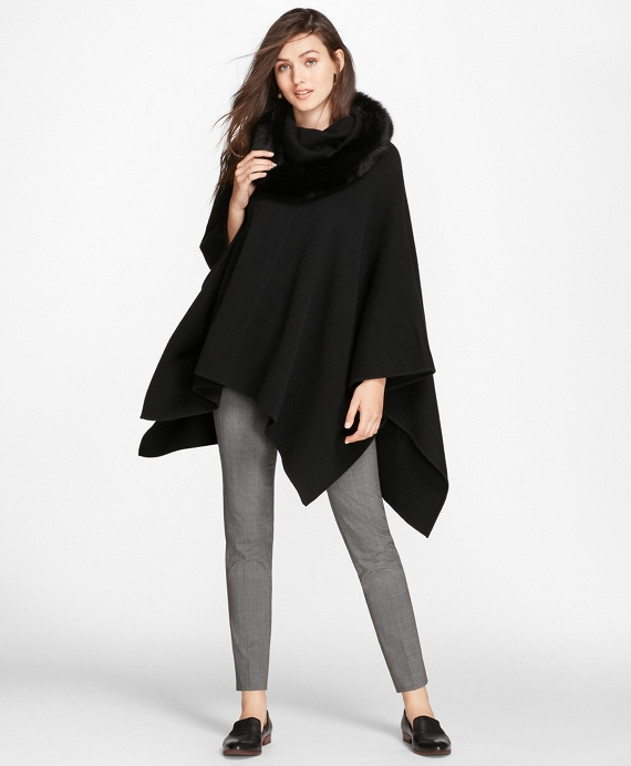 Fox-Fur-Trimmed Cashmere Poncho Black