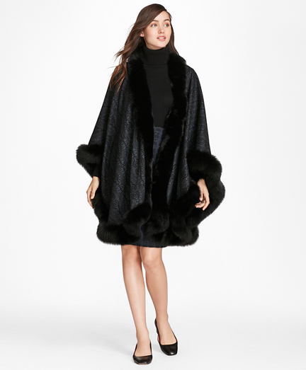 Scroll-Print Fox-Fur-Trimmed Cashmere Ruana