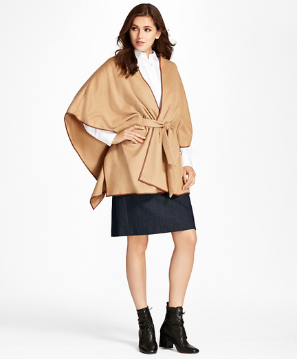 Leather-Trimmed Cashmere Kimono