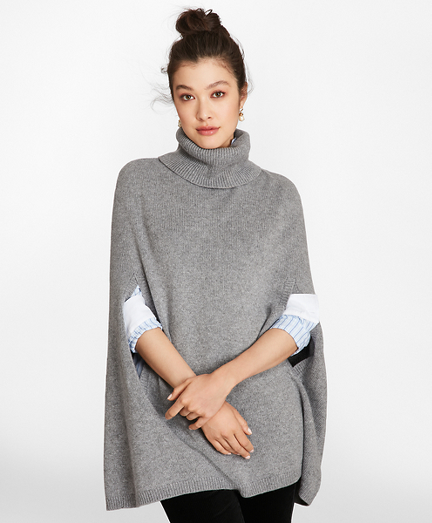 Wool-Alpaca-Blend Turtleneck Poncho
