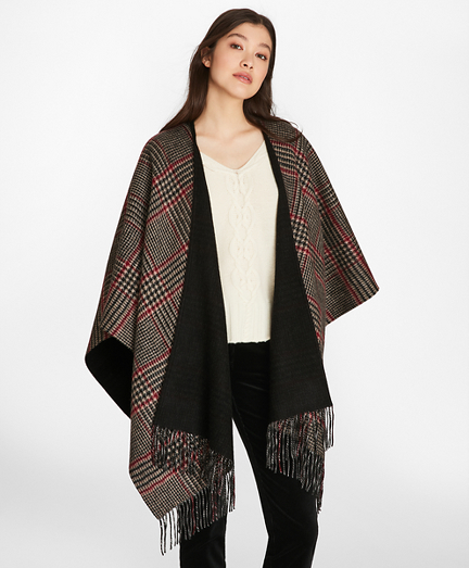 Reversible Glen Plaid Wool-Cashmere Ruana
