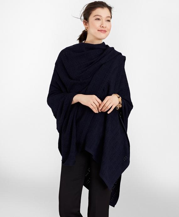 Pointelle Cable-Knit Merino Wool Ruana Navy