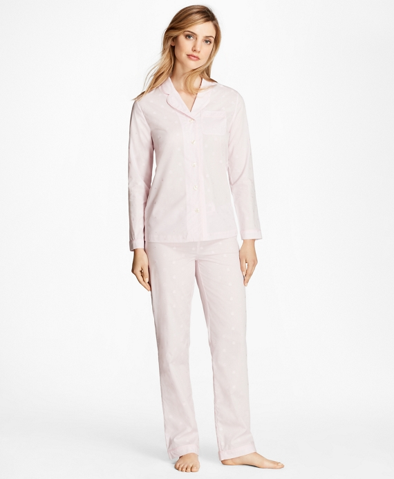 Fleece-Logo Cotton Jacquard Pajama Set Light Pink