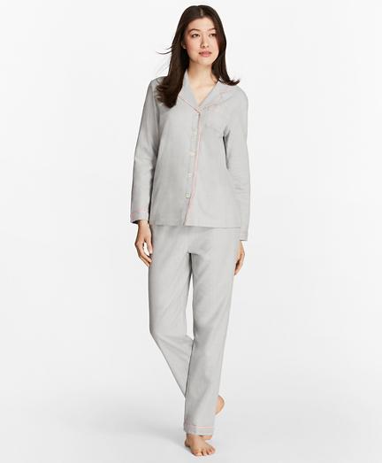 Herringbone Cotton Flannel Pajama Set