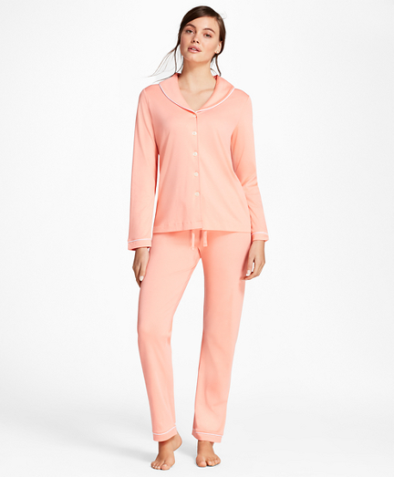 Shawl-Collar Pima Cotton Interlock Jersey Pajama Set