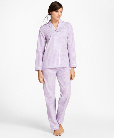 Gingham Cotton Poplin Pajama Set