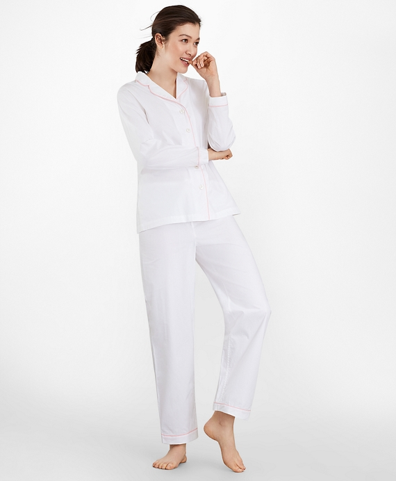 Cotton Poplin Pajama Set White