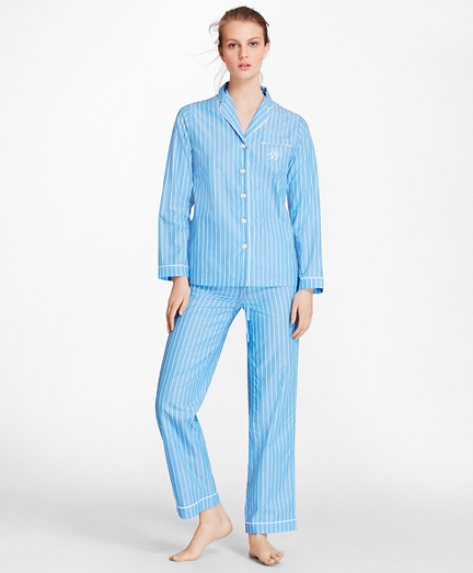 Striped Cotton Poplin Pajama Set