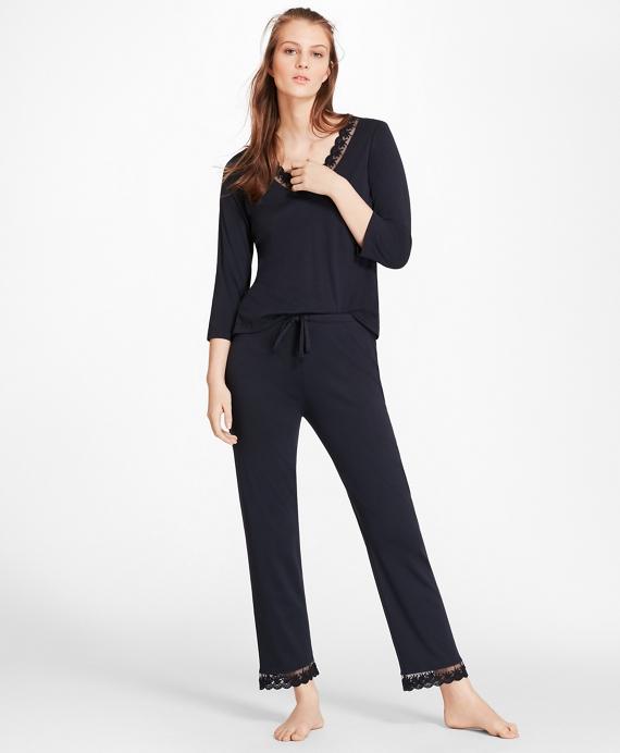 Lace-Trimmed Pima Cotton Interlock Jersey Pajama Set Navy