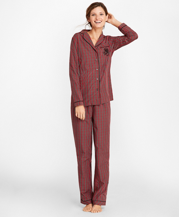 Tartan Cotton Poplin Pajama Set Red-Green