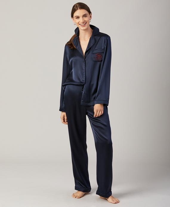 Silk-Satin Pajama Set Navy