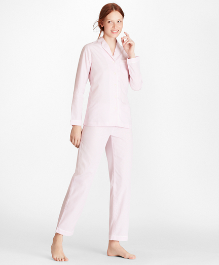 Mini-Check Cotton Poplin Pajama Set