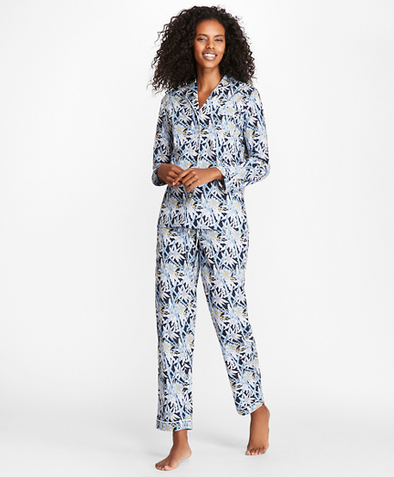 Bamboo-Print Cotton Poplin Pajama Set