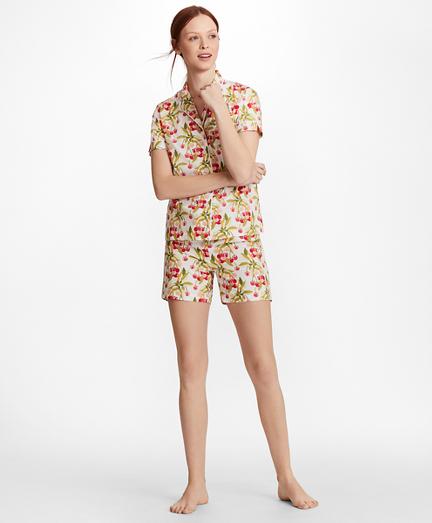 Cherry-Print Supima® Cotton Poplin Short Pajama Set
