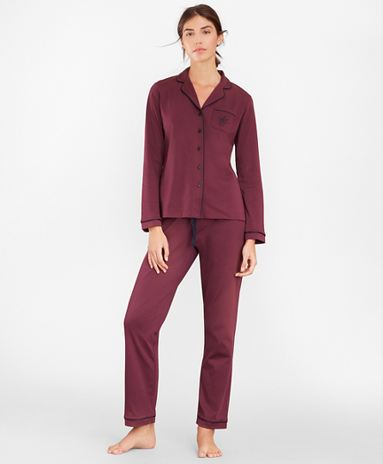 Logo-Embroidered Pima Cotton Interlock Jersey Pajama Set