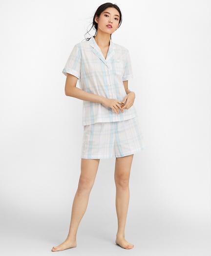 Madras Plaid Cotton Poplin Short Pajama Set