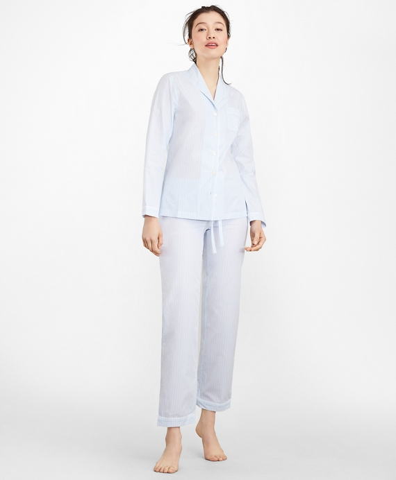 Striped Cotton Poplin Pajama Set Blue