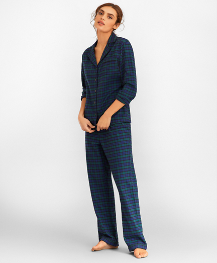 Black Watch Tartan Cotton Poplin Pajama Set