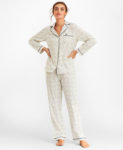Violet-Print Supima® Cotton Poplin Pajama Set