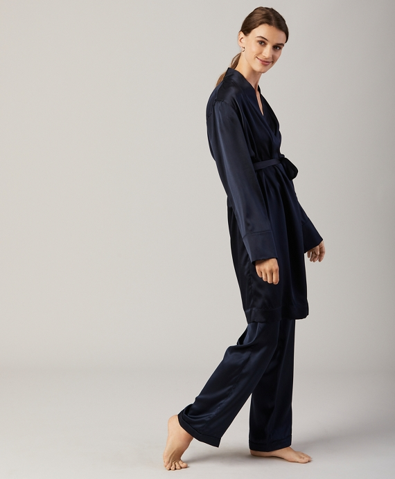 Silk-Satin Robe Navy