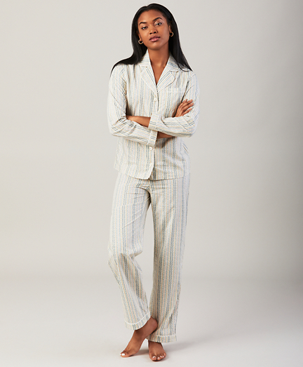 Floral-Print Cotton Poplin Pajama Set
