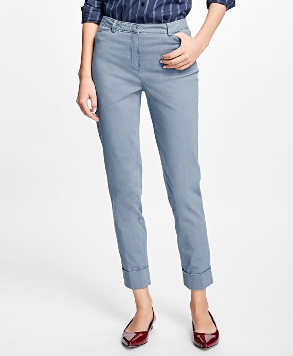 Cuffed Stretch Cotton Oxford Pants Blue Slate