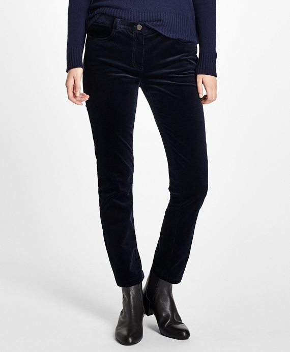 Slim Stretch Cotton Velvet Corduroys Navy