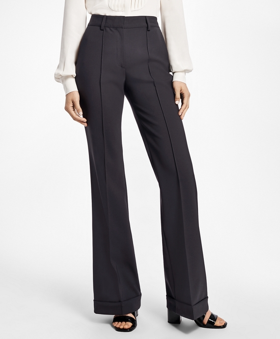 Cuffed Wide-Leg Tuxedo Pants Black